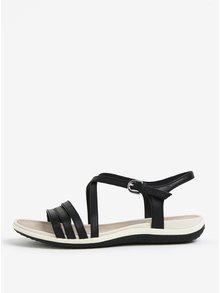 Čierne dámske kožené sandále Geox Sand.Vega