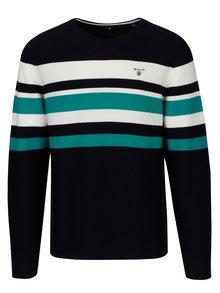 Tmavomodrý pánsky pruhovaný sveter GANT