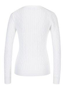 Biely dámsky pletený sveter s véčkovým výstrihom GANT