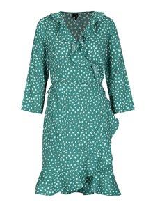 Zelené vzorované zavinovací šaty s 3/4 rukávem VERO MODA Henna