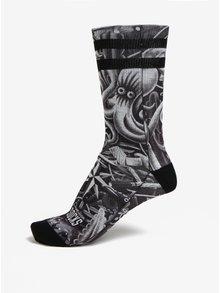 Sivo-čierne unisex vzorované ponožky American Socks