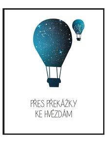 Modro-bílý plakát HEZKÝ SVĚT Balón
