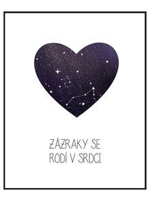 Modro-bílý plakát HEZKÝ SVĚT Srdce