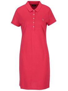 Ružové rovné šaty s gombíkmi a golierikom GANT