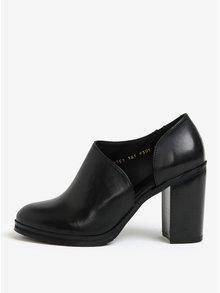 Čierne dámske kožené poltopánky na vysokom podpätku Royal RepubliQ