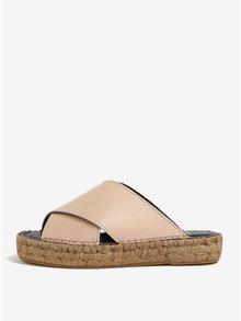 Béžové dámské kožené pantofle na platformě Royal RepubliQ