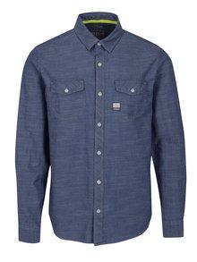 Modrá pánska slim fit košeľa s jemným vzorom s.Oliver