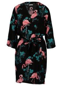 Kimono negru cu print flamingo Jacqueline de Yong Maude