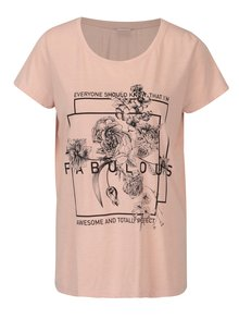 Ružové voľné tričko s potlačou Jacqueline de Yong New Sky