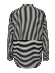 Krémovo-čierna pruhovaná košeľa s dlhým rukávom ONLY Elena