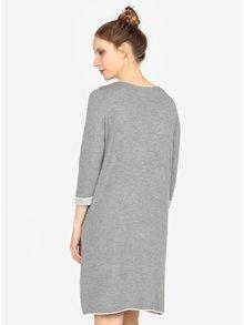 Rochie pulover gri cu buzunare si maneci 3/4 - s.Oliver