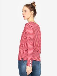 Bluza oversized rosu & alb cu brosa pentru femei - s.Oliver