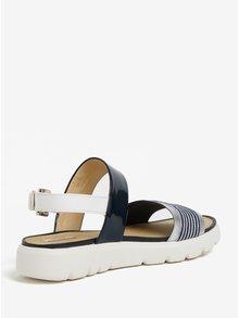 Sandale cu platforma crem & albastru si bareta cu aspect lucios - Geox Amalitha