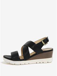 Čierne kožené sandále na klinovom podpätku Geox Marykarmen