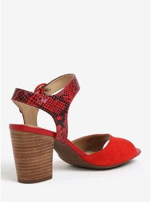 Červené semišové sandále na podpätku Geox Eudora