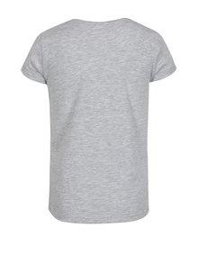 Sivé dievčenské melírované tričko s potlačou 5.10.15.