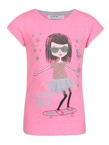 Ružové dievčenské tričko s ligotavou potlačou 5.10.15.
