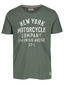 Tricou verde cu print text Selected Homme Mike