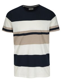 Tricou bleumarin&crem in dungi Selected Homme New Rune