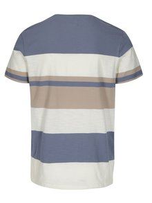 Tricou bleu&crem in dungi Selected Homme New Rune