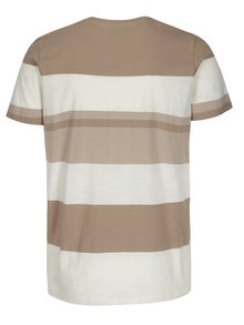 Tricou bej&crem in dungi Selected Homme New Rune