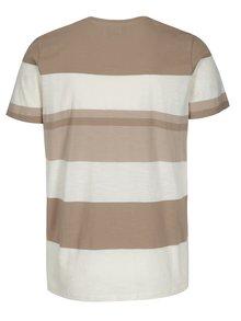 Krémovo-béžové pruhované tričko Selected Homme New Rune