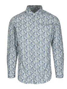 Camasa slim fit alb&albastru cu print floral Selected Homme Do Nesel-Rio