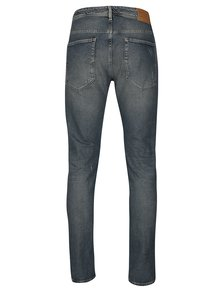 Blugi albastri slim fit cu aspect prespalat si uzat -  Selected Homme Slim