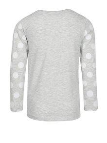 Svetlosivé melírované dievčenské tričko s potlačou 5.10.15.