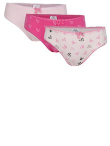 Sada tří růžových holčičích kalhotek se srdíčky 5.10.15.