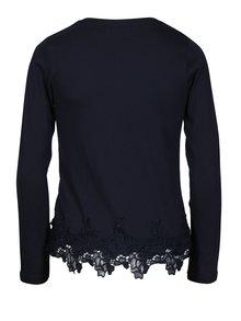 Tmavomodré dievčenské tričko s čipkovým lemom 5.10.15.