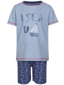 Tmavě modré klučičí dvoudílné pyžamo s potiskem 5.10.15.