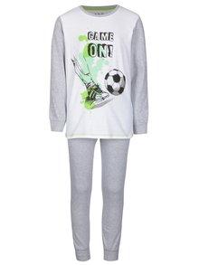 Bielo–sivé chlapčenské dvojdielne pyžamo s potlačou 5.10.15.