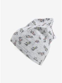 Sivá melírovaná chlapčenská čiapka s motívom áut 5.10.15.
