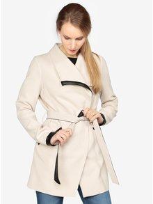 Krémový kabát s páskem VERO MODA Kirsten