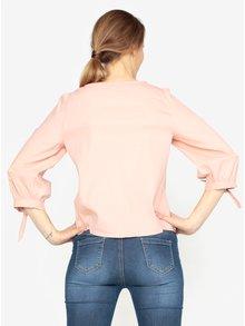 Bluza roz pal cu dungi in relief si maneci 3/4 VERO MODA Sia