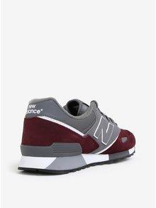 Vínovo-šedé pánské kožené tenisky New Balance U446