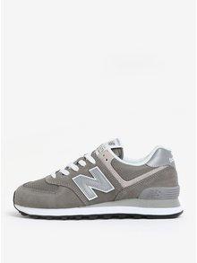 Sivé dámske tenisky so semišovými detailmi New Balance WL574