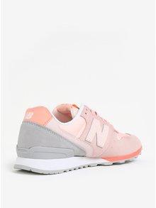 Světle růžové dámské tenisky se semišovými detaily New Balance WR996
