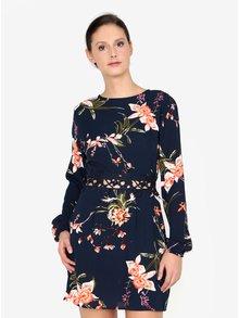 Tmavomodré kvetované šaty s čipkou v páse AX Paris