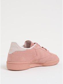 Pantofi sport roz din piele intoarsa pentru femei Reebok Club C 85