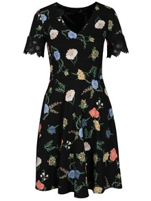 Rochie cu print floral si broderie la maneci Dorothy Perkins