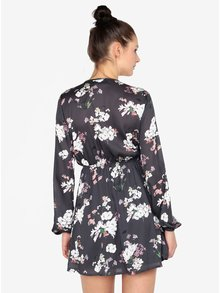 Rochie gri cu print floral si nod frontal MISSGUIDED