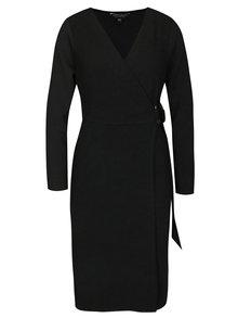 Čierne puzdrové šaty na zavinovanie Dorothy Perkins