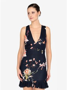 Tmavomodré kvetované šaty s véčkovým výstrihom AX Paris
