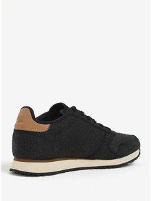 Pantofi sport negri cu model din piele pentru femei Woden Ydun Croco