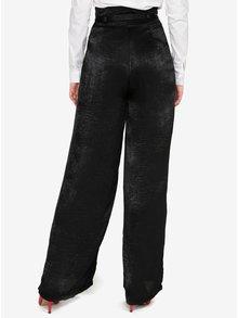 Černé saténové culottes kalhoty s páskem a vysokým pasem  MISSGUIDED