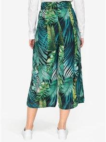Pantaloni culottes verzi cu print frunze si talie inalta -  MISSGUIDED