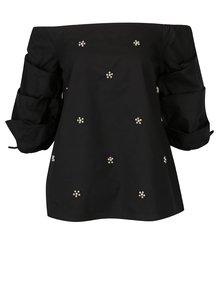 Bluza neagra cu decolteu amplu si perle decorative- Dorothy Perkins