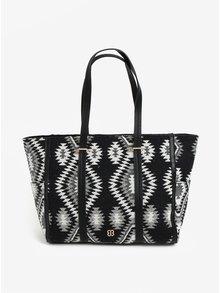 Krémovo-černý shopper s aztéckým vzorem Bessie London